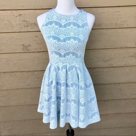 Lord Taylor Design Lab Lace Overlay Skater Dress